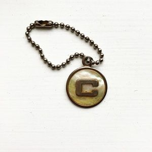 "Vintage milky white opal letter ""C"" disc keychain"